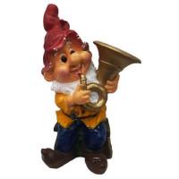 Фигура садовая «Гном играет на трубе» высота 49 см