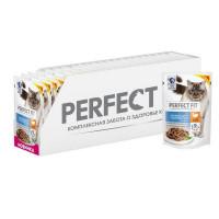 Влажный корм для кошек Perfect Fit индейка, 24 шт по 85г