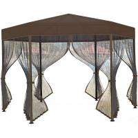 Шатер садовый с антимоскитной сеткой Арамис D3,5 3.5х3.5х2.52 м сталь коричневый (без штор)