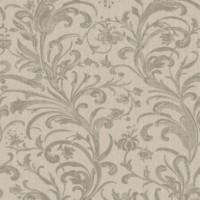 Обои текстильные Aura Victoria коричневые 0.53 м 070070