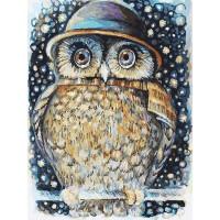 Картина по номерам на картоне Белоснежка Сова в шляпе 3073-CS