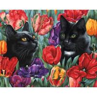 Картина по номерам на холсте Белоснежка Среди тюльпанов 191-AB