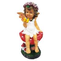 Фигура садовая «Девочка на грибе с бабочкой» высота 49 см