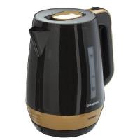 Электрический чайник SONNEN KT-1776, 1,7 л, 2200 Вт, закрытый нагревательный элемент, пластик, черный/горчичный, 453418