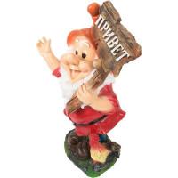 Фигура садовая Гном с табличкой «Привет» с петухом 61 см