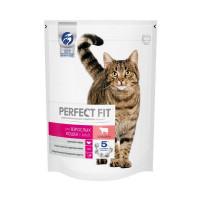 Сухой полнорационный корм PERFECT FIT для взрослых кошек, с говядиной, 650г