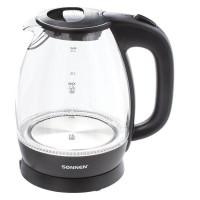 Электрический чайник SONNEN KT-1786, 1,7 л, 2200 Вт, закрытый нагревательный элемент, стекло, 453422
