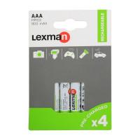 Аккумуляторные батарейки LEXMAN AАА 4шт, 900mAh