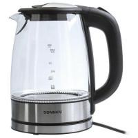 Электрический чайник SONNEN KT-1788, 1,7 л, 2200 Вт, закрытый нагревательный элемент, стекло, черный, подсветка, 454349