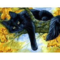 Картина на холсте по номерам Белоснежка Осенний кот 296-AS