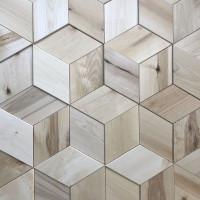 Мозаика 3D ромбы береза 100 мм без покрытия