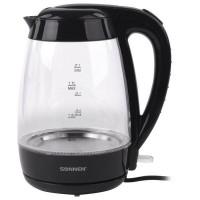 Электрический чайник SONNEN KT-200BK, 1,7 л, 2200 Вт, закрытый нагревательный элемент, стекло, подсветка, черный, 451709