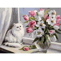 Картина на холсте по номерам Белоснежка Весная на окошке 128-AS